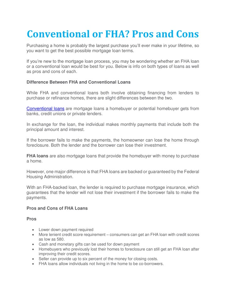 conventional or fha pros and cons n.
