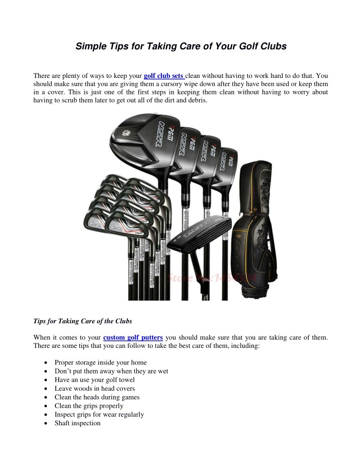 simple tips for taking care of your golf clubs n.