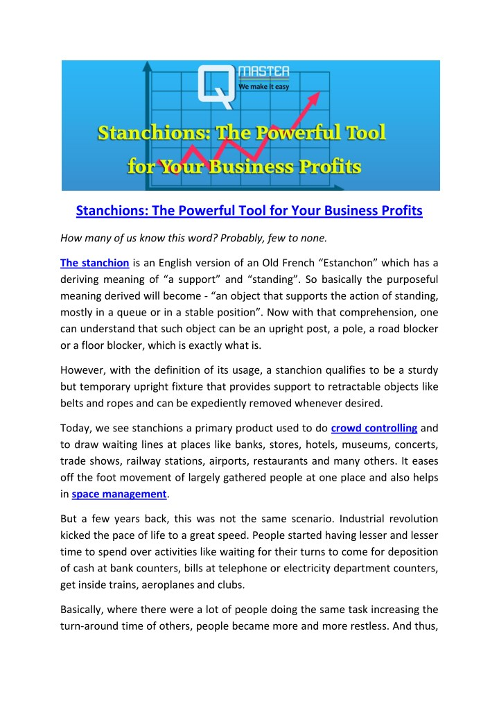 stanchions the powerful tool for your business n.