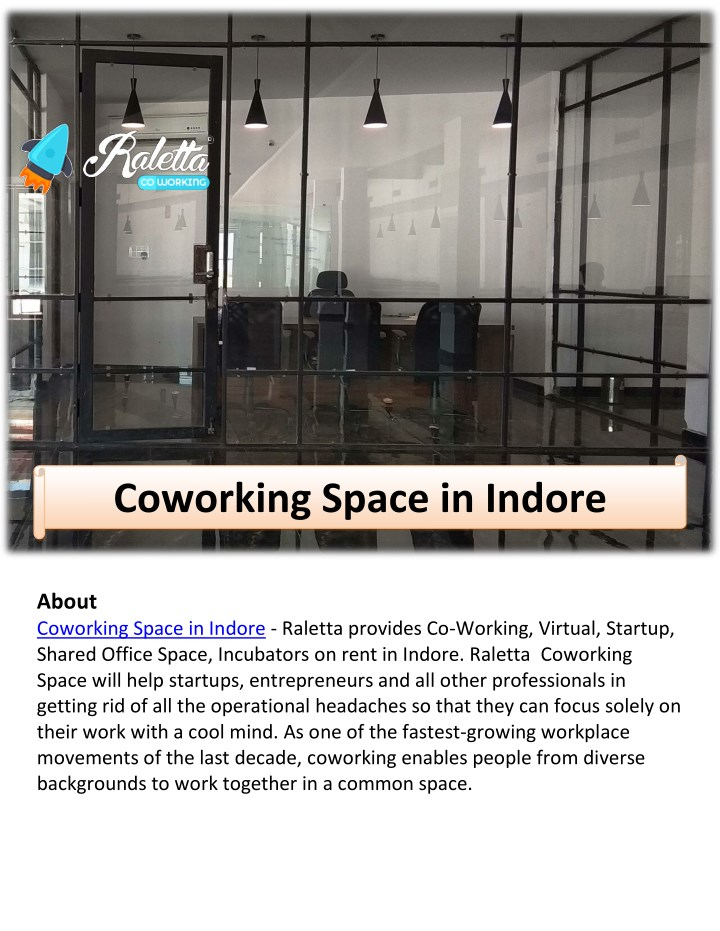 about coworking space in indore raletta provides n.
