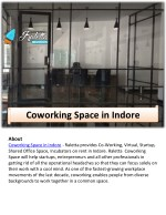 about coworking space in indore raletta provides