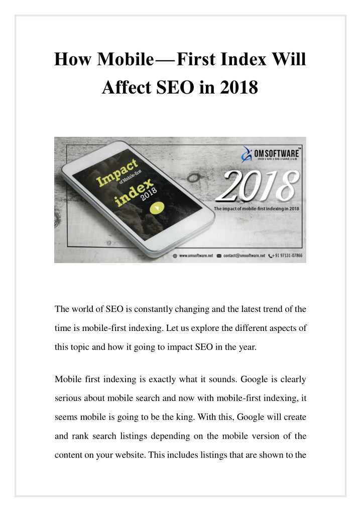 how mobile first index will affect seo in 2018 n.