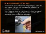 the security grade of the lock it is important