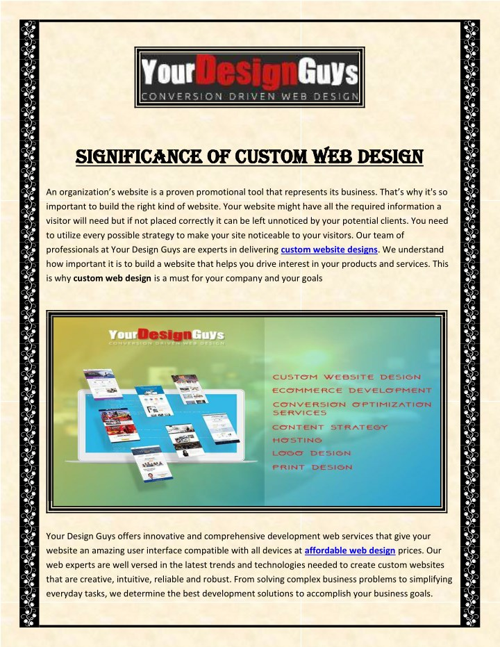 significance of custom web design significance n.