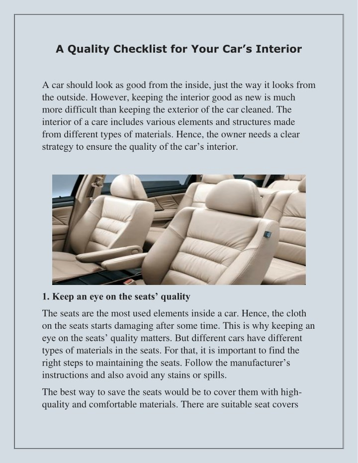a quality checklist for your car s interior n.