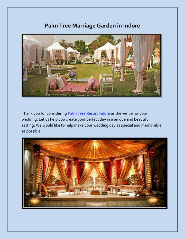 palm tree marriage garden in indore n.