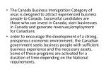the canada business immigration category of visas