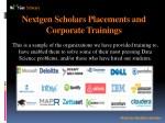 nextgen scholars placements and corporate
