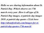 hello we are sharing information about st patrick