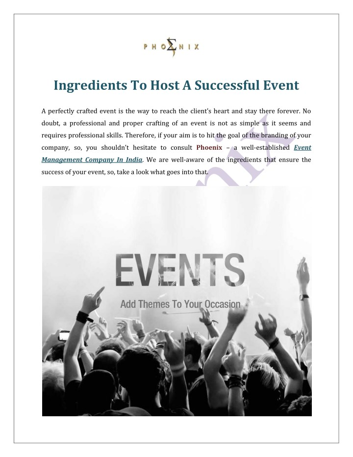 ingredients to host a successful event n.