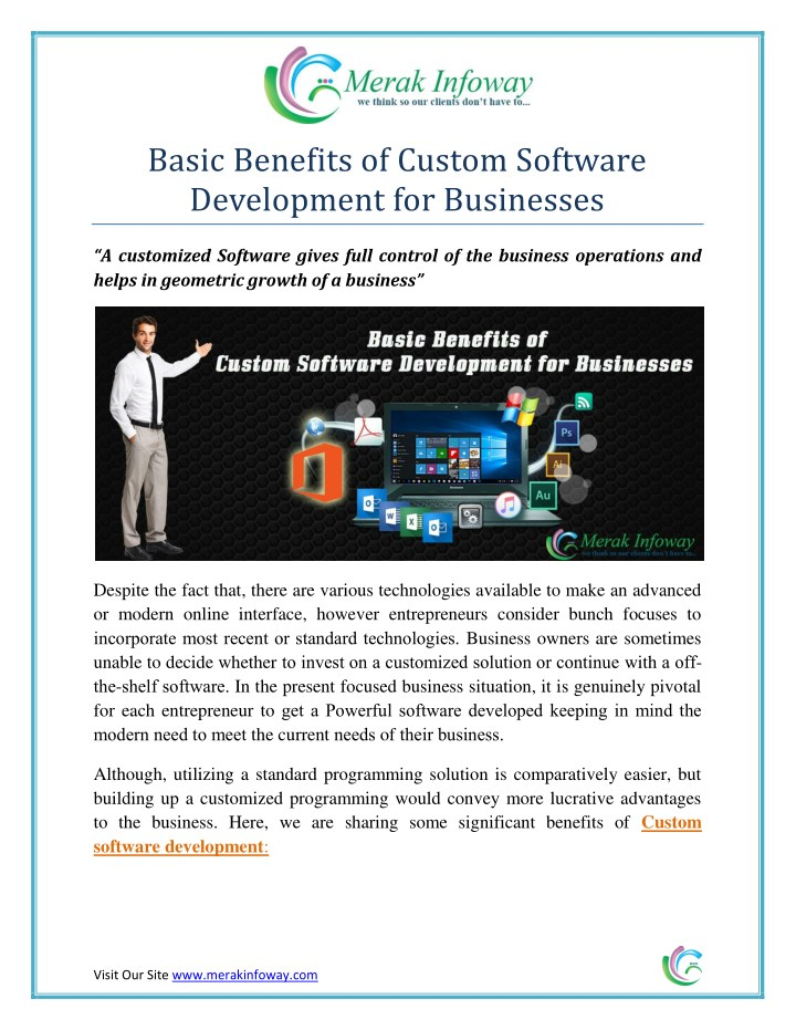 basic benefits of custom software development n.