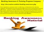 banking awareness training program company http