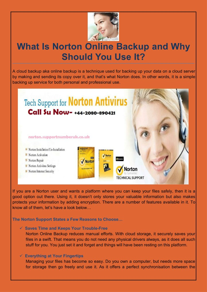 what is norton online backup and why should n.
