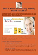 what is norton online backup and why should