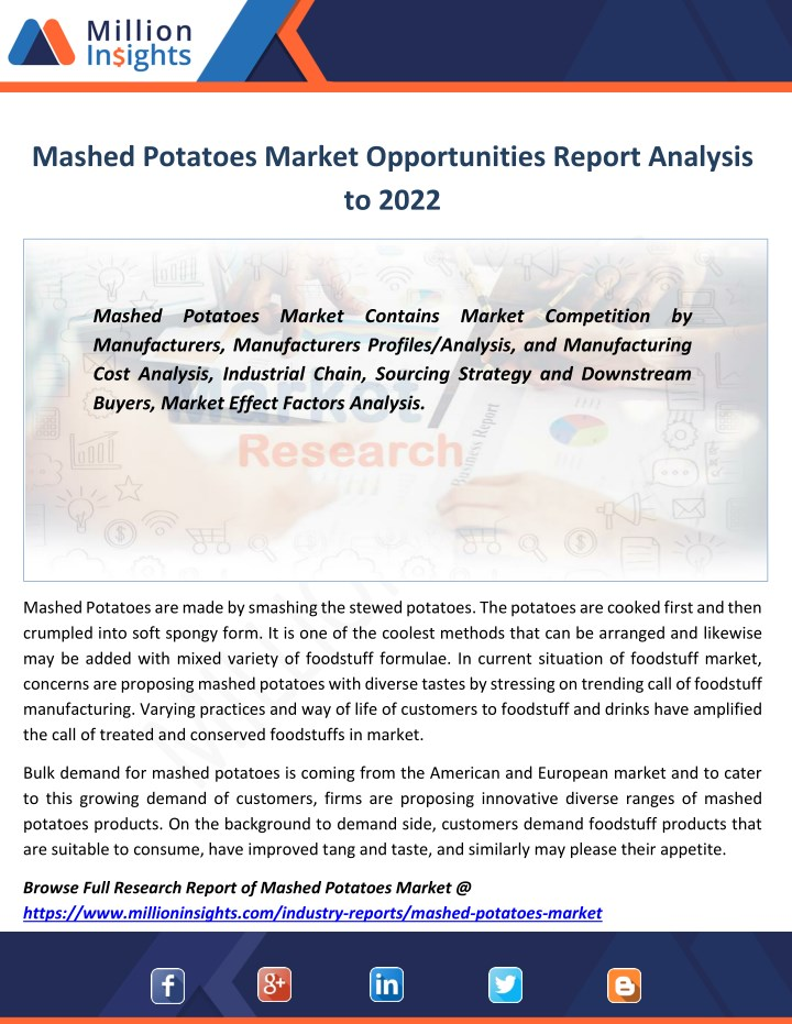 mashed potatoes market opportunities report n.