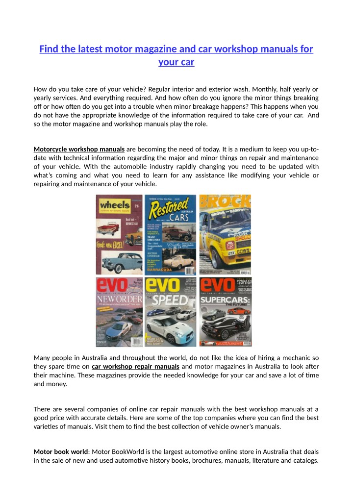 find the latest motor magazine and car workshop n.