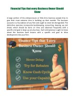 financial tips that every business owner should
