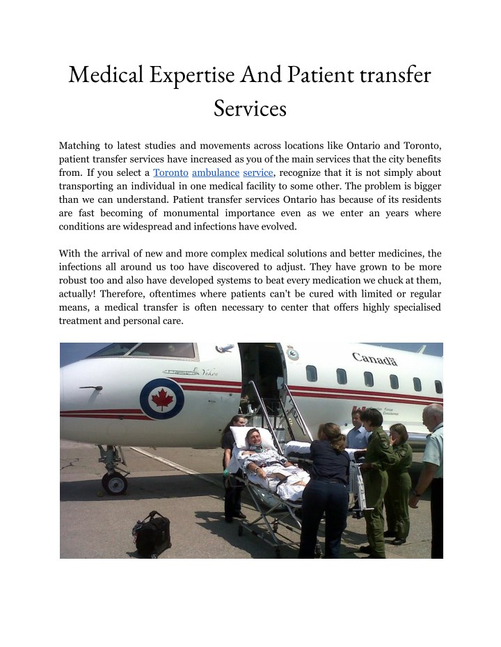 medical expertise and patient transfer services n.
