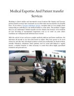 medical expertise and patient transfer services