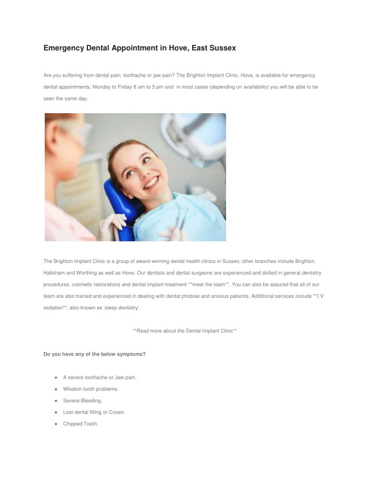 emergency dental appointment in hove east sussex n.