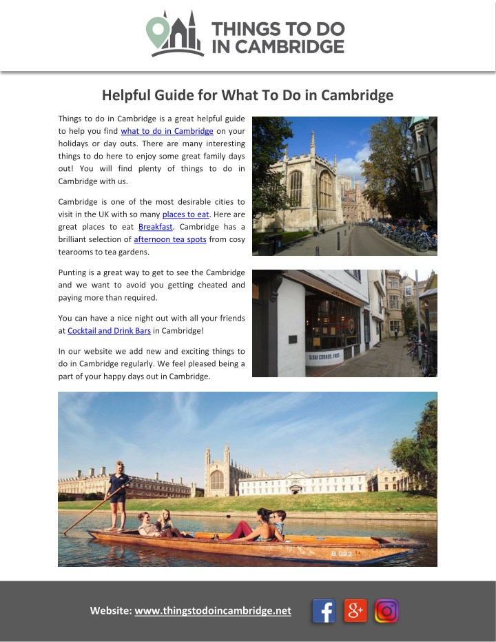 helpful guide for what to do in cambridge n.