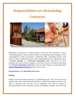 responsibilities of a remodeling