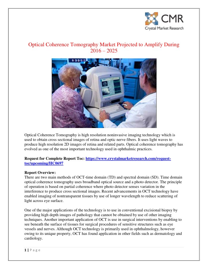 optical coherence tomography market projected n.
