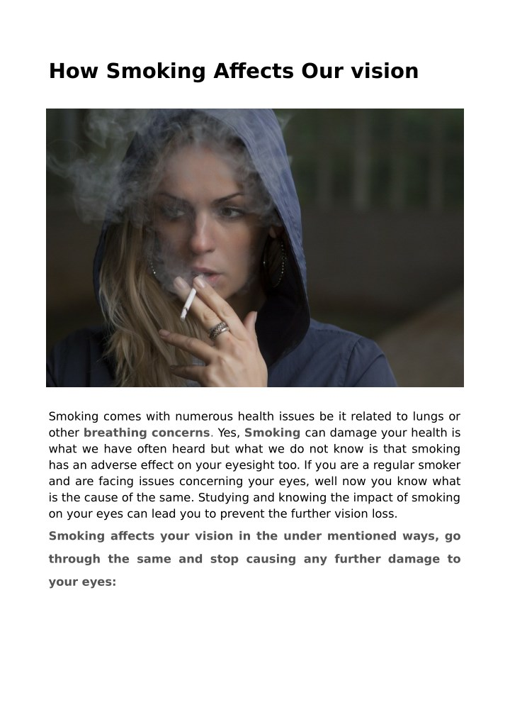how smoking affects our vision n.