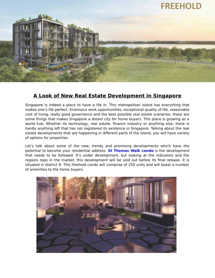 a look of new real estate development in singapore n.