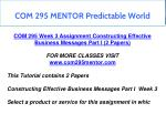 com 295 mentor predictable world 11