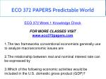 eco 372 papers predictable world 21