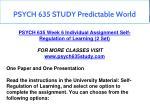 psych 635 study predictable world 10