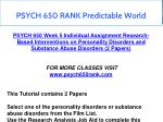 psych 650 rank predictable world 3