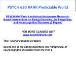 psych 650 rank predictable world 5