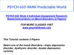 psych 650 rank predictable world 8