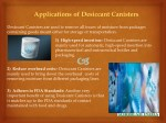applications of desiccant canisters
