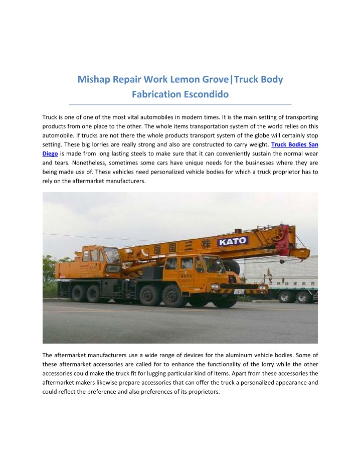 mishap repair work lemon grove truck body n.