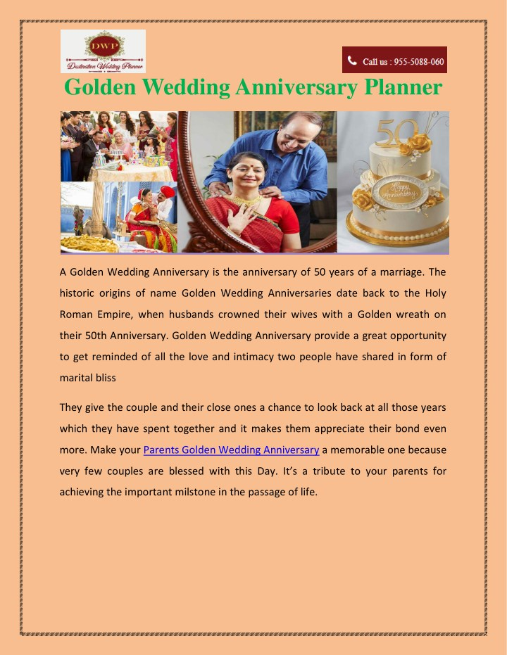 golden wedding anniversary planner n.