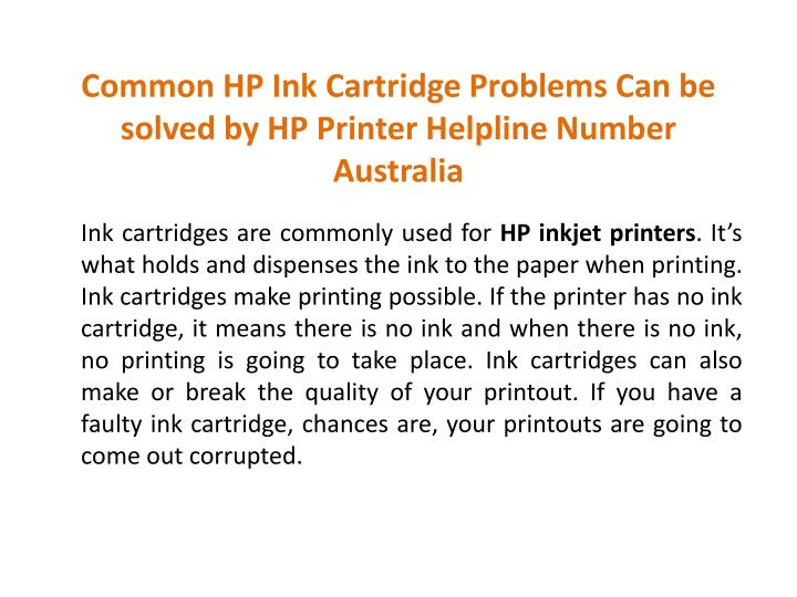 PPT - Common HP Ink Cartridge Problems Can be solved by HP