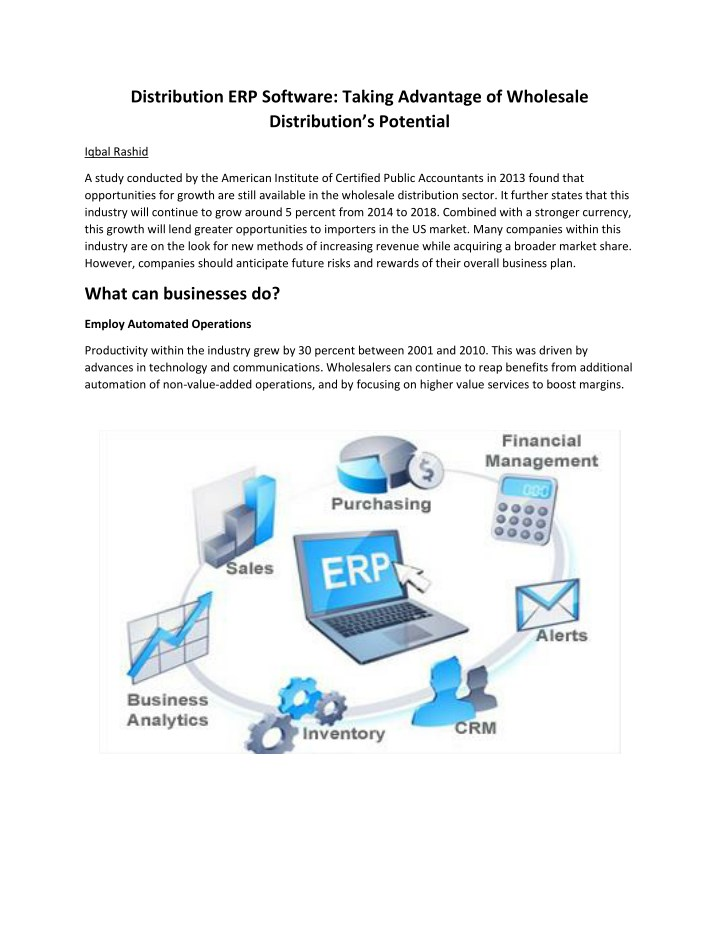 distribution erp software taking advantage n.