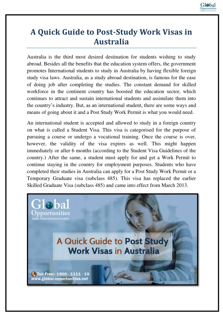 a quick guide to post study work visas n.