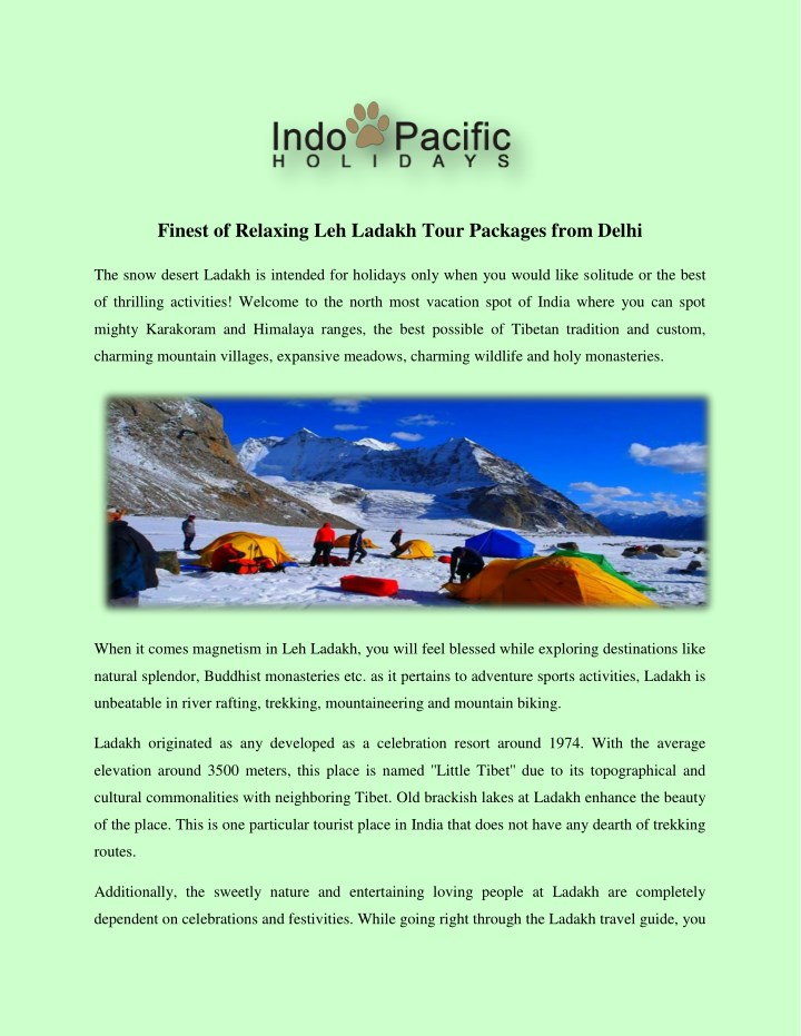 finest of relaxing leh ladakh tour packages from n.