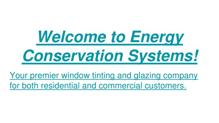 welcome to energy conservation systems n.