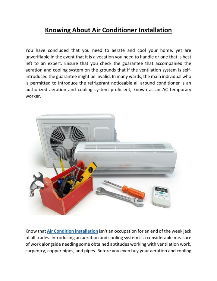 knowing about air conditioner installation n.