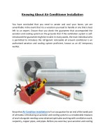 knowing about air conditioner installation