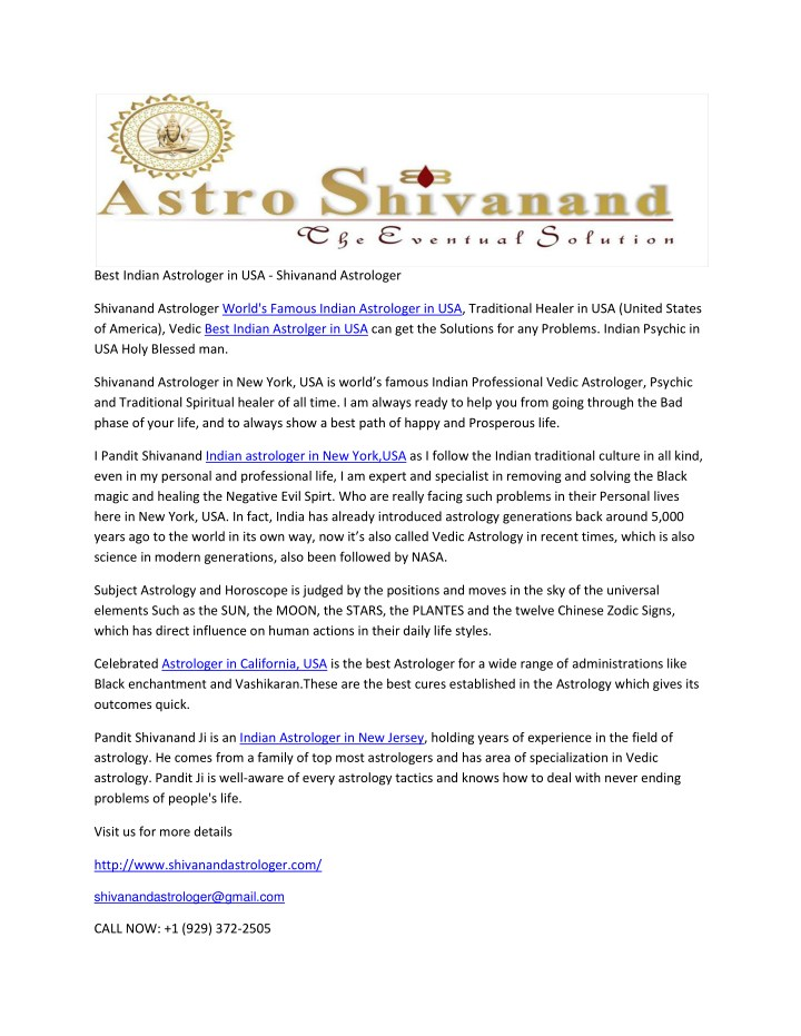 best indian astrologer in usa shivanand astrologer n.