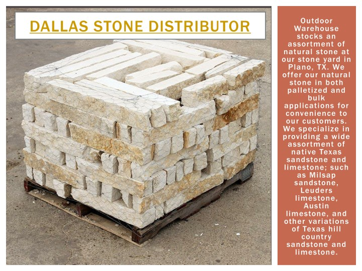 outdoor warehouse stocks an assortment of natural n.