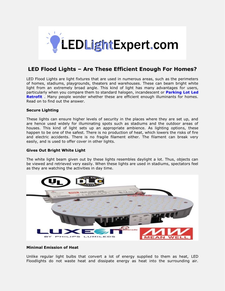 led flood lights are these efficient enough n.