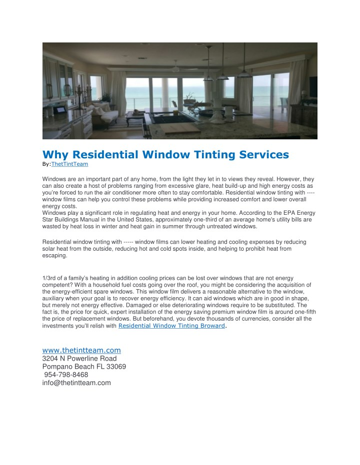 why residential window tinting services n.