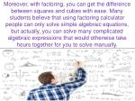 moreover with factoring